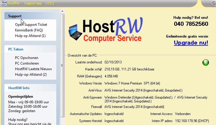 HostRW Support App